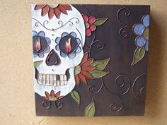 TATTOO INSPIRED SUGAR SKULL CANVAS ART by wallexpress on Etsy, $60.00