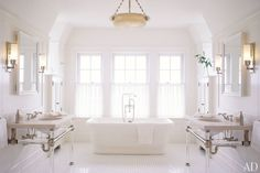 Inspiring Bathroom Renovations and Designs: An all-white Nantucket bath by Victoria Hagan