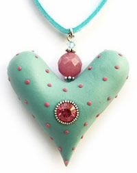 mary_mary_heart by cynthia tinapple Fimo Clay, Polymer Clay Projects, Polymer Clay Creations, Clay Design, Paperclay, Polymer Clay Beads, Heart Jewelry, Handcrafted Jewelry, Biscuit