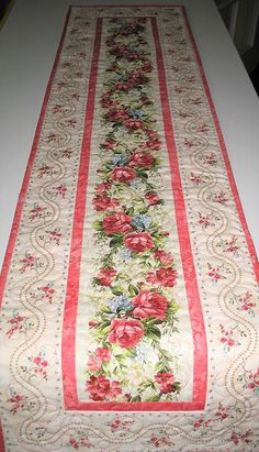 Roses Table Runner, Easter, Mother's Day, Spring, Floral, Summer, quilted table runner, fabric Maywood, handmade