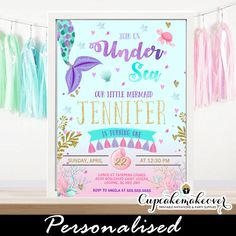 Magical Under the sea birthday invitations to celebrate your little girl's party. These under the sea birthday invitations feature a watercolor ocean world Turtle Birthday, Mermaid Birthday, Birthday Diy, Birthday Ideas, Birthday Parties, Mermaid Invitations, Birthday Invitations, Personalized Invitations, Printable Invitations