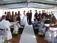 Wedding Ceremony on the Water - Newport Beach Yacht Weddings - Yacht wedding Yacht Wedding, Private Wedding, Wedding Venues Beach, Cruise Wedding, Destination Wedding Locations, Wedding Reception, Beach Ceremony, Beach Weddings, Wedding Tags