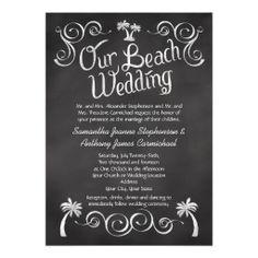 Chalkboard Palm Tree Beach Wedding Custom Destination Beach Wedding Invitations #beachwedding