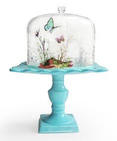 Notions Blue Butterfly Tall Pedestal Plate | Daily deals for moms, babies and kids