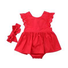 New Arriavl Christmas Ruffle Red Lace Romper Dress Baby Girls Sister Princess Kids Xmas Party Dresses Cotton Newborn Costume. Bodysuit Dress, Romper Dress, Lace Romper, Red Romper, Dress Red, Dress Clothes, Summer Romper, Floral Romper, Dress Summer