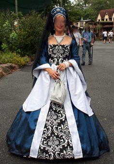 Royal blue renaissance gown.