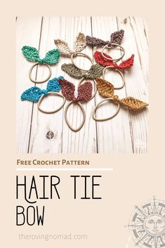 Hair Tie Bow - Free Crochet Pattern - The Roving Nomad Crochet Bow Ties, Crochet Bow Pattern, Crochet Hair Bows, Crochet Hair Accessories, Easy Crochet Patterns, Crochet Flowers, Crochet Earrings, Quick Crochet, Free Crochet