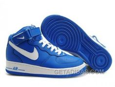 http://www.getadidas.com/nike-air-force-1-mid-white-blue-sneakers-discount.html NIKE AIR FORCE 1 MID WHITE/BLUE SNEAKERS DISCOUNT Only $54.43 , Free Shipping!