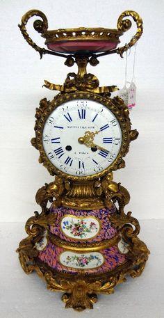 Sevres Porcelain & Figural Bronze Mantle Clock