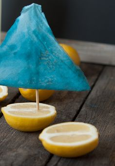 Lemon boat...cute cute idea! Especially to float on top of a bowl of punch!