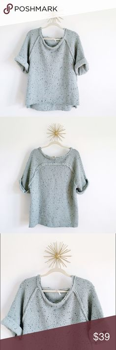 ⚬Free People⚬Knit Sweater Gorgeous dusty mint blue color with chocolate/charcoal and camel colored specs intertwined. Wool-blend and perfect for layering! Approx 25 inches in length from back collar to hem. Slight hi-low hem. Coveted blogger fall staple. Only worn twice, EUC. Bundle and save Free People Sweaters Crew & Scoop Necks