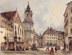 The Main Square in Bratislava by Rudolf von Alt, 1843
