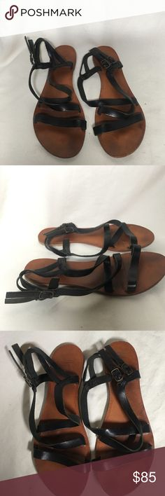 "Joie ""A La Piage"" Leather European Summer Sandals BLACK + TAN 