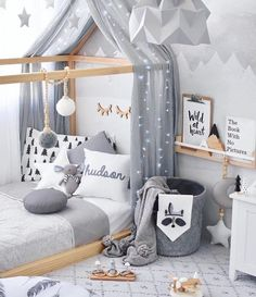 Grey, White and Wood Modern Kids Bedroom with Canopy, Throw Pillows and Inspirational Art