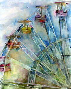 Ferris Wheel Watercolor Print - 11 x 14 Art Aquarelle, Art Watercolor, Watercolor Landscape, Art Textile, Wow Art, Art For Art Sake, Amazing Art, Art Photography, Illustration Art