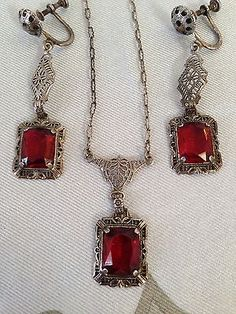 Original Antique Edwardian Necklace & Earrings in Sterling Silver & Ruby Crystal