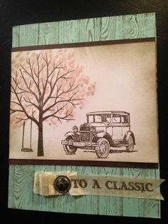 Stampin' Up! Shetering Tree, emboss on ribbon by n.stamper - Cards and Paper Crafts at Splitcoaststampers Masculine Birthday Cards, Birthday Cards For Men, Masculine Cards, Male Birthday, Making Greeting Cards, Greeting Cards Handmade, Boy Cards, Men's Cards, Tutorials