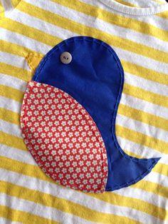 Hand Stitched Fabric Bird Toddler Tee