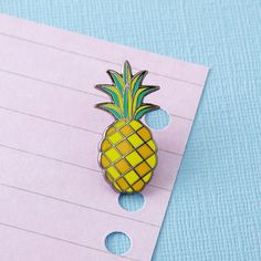 Pineapple Enamel Pin with clutch back // lapel pins by Punkypins