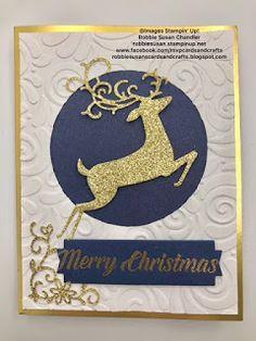 Dashing Deer, Stampin Up, Gold Foil Edges Card base, Swirls and Curls embossing folder Homemade Christmas Cards, Christmas Cards To Make, Christmas Deer, Xmas Cards, Homemade Cards, Holiday Cards, Handmade Christmas, Scrapbook Christmas Cards, Christmas Crafts
