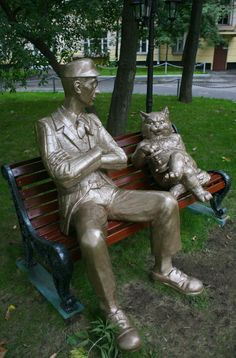 A Moscow sculpture of characters from Mikhail Bulgakov's novel The Master and Margarita. Russia, I love you.