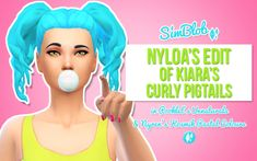 """sim-blob: """" Nyloa's Bubblegum Edit of Kiara's Curly Pigtails in Pooklet's Unnaturals & Nyren's Kosmik Pastels """" Hello hello! Look at these cute friggin pigtails! And thanks to nyloa they no longer have a hairline!) Both files included so you. Sims 4 Cc Skin, Sims Cc, Sims 4 Characters, Curly, Sims Hair, Sims 4 Update, Sims 4 Cc Finds, Sims Mods, Sims 4 Custom Content"""