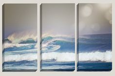 """Wild Child"" Triptych Canvas Art, Ocean Waves, Caribbean, Beach, Coastal, Triptych, Home Decor, Surf Decor by Joelle Joy"