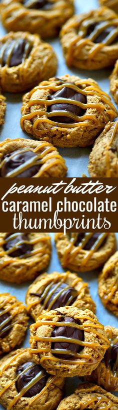 Soft and chewy peanut butter cookies are filled with chocolate and drizzled with tons of homemade caramel! These peanut butter caramel chocolate thumbprints are a cookie tray must.