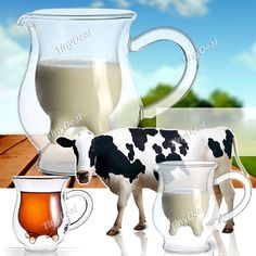 Creative Cow Udder Creamer Jug Glass Food Safe Drinking Ware Cup Glassware for Kitchen HLI-73942