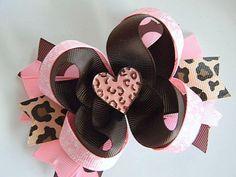 Valentine Hair Bow  Cheetah Love Boutique Hair Bow by Avabowtiquee, $7.99