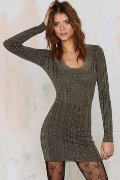 Nasty Gal Stripe 'Em Down Metallic Dress - Gold | Shop Clothes at Nasty Gal!