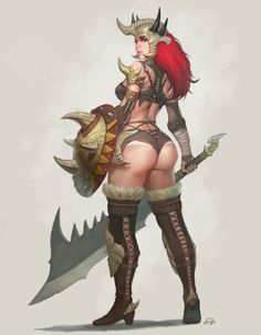Sci-Fi Fantasy Adult Art | sexy+female+fantasy+warrior+BARBARIAN+sci+fi+big+butt+fat+ass+curvy ...