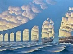 Not Magritte - Rob Gonsalves - The Sun Sets Sail Image Illusion, Illusion Pictures, Illusion Art, Optical Illusion Paintings, Optical Illusions, Magic Illusions, Amazing Paintings, Amazing Art, Awesome