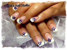 Classic french tip with blue flower and silver gem. Hand-painted nail art. Sculpted gel nails  www.facebook.com/LizellesGelNails