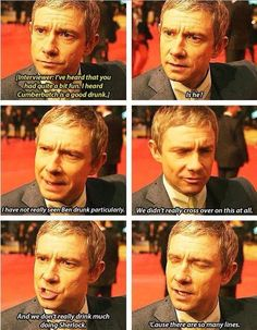 Martin Freeman. So many lines. Especially police lines... or the cast of Sherlock line dancing. SO MANY LINES!!!