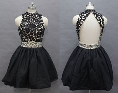 Black Lace Applique Knee Length Homecoming Dresses With Beadings
