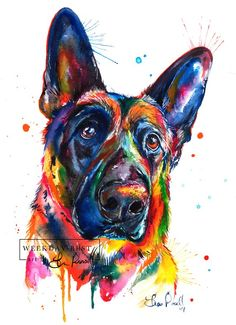 Bright and colorful German Shepherd art print of my original | Etsy