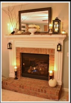 Mantle decor ideas - add a small lamp for a little light? Plug is already there.