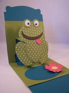 How to make a Pop Up Card & a Punch Art-Frog Happy, Happy, Happy  www.stampingcountry.com Where Creativity Blooms