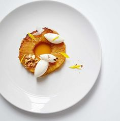 Caramelized pineapple, cardamom honey ginger syrup, coconut sorbet & cocoa nibs