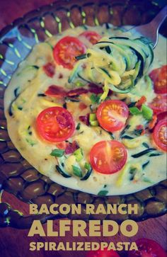 Paleo Bacon Ranch Alfredo with Spiralized Noodles (Gluten/Grain/Dairy Free) | Brittany Angell