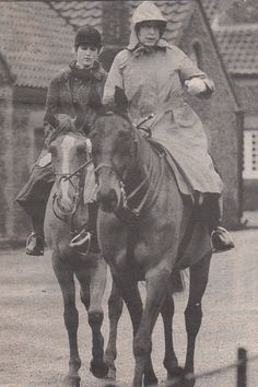 Diana riding with the Queen.  Diana did not care for riding after breaking her arm riding when she was a child.