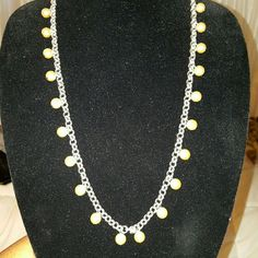 "Monet Necklace of Silver Champagne Pearls NWOT Monet Necklace of Silver and Champagne Pearls (24), NWOT, lovely piece, 30"" long with bold interlocking circles, crystal embellished extension chain. Monet Jewelry Necklaces"
