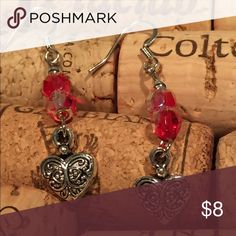 Double Love! Earrings Sweet Valentine's Day Gift earrings with two red Ombré crystal beads and detailed heart charm. DBC Jewelry Earrings
