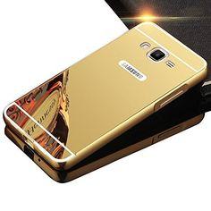 Sunroyal® Samsung Galaxy J1 (2016) SM-J120F Miroir Retour Case Ultra mince Coque Etui Housse Aluminium Métal Rim Thin Effet Mirror…