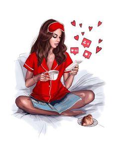 Illustration by Nastya Kosyanova Girly M, Girly Girl, Illustration Mode, Illustrations, Girly Drawings, Digital Art Girl, Fashion Art, Fashion Design, Fashion Sketches