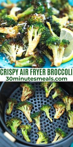 Air Fryer Broccoli are tender and crispy, perfect for an easy side dish or fun appetizer when served with your favorite dipping sauce. #airfryer #broccoli #dinner #sweetandsavorymeals