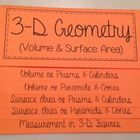 This foldable is organized into 5 tabs:  Volume of Prisms & Cylinders Volume of Pyramids & Cones Surface Area of Prisms & Cylinders Sur...