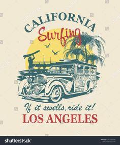 California Logo, Custom Art, Retro, Caricature, Surfing, Route 66, T Shirt, Poster, Motorcycle