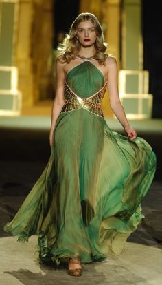 green gown, looks like Cleopatra and Loki